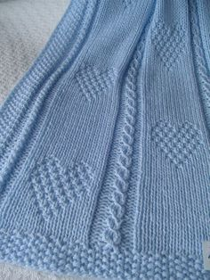 Baby Blanket 13 Blue Baby Blanket Hand Knit Baby di Ednascloset