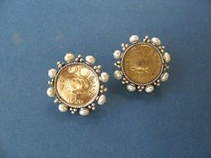 Glamorous vintage Indian coin studs with pearls Earrings Lai designer sterling silver 925 jewelry that is global culture inspired artisanal handcrafted handmade contemporary sustainable conscious fair trade online brand shop Arabic Jewelry, Indian Jewelry, Coin Jewelry, Jewelery, Gold Earrings For Women, Gold Jhumka Earrings, Art Deco Diamond, Diamond Brooch, Gold Jewellery Design