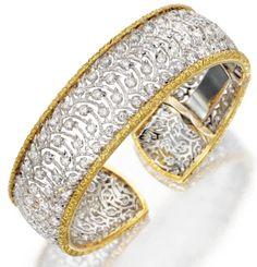Buccellati gold lace and diamond bracelet. Via Diamonds in the Library.