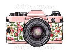 Retro pink photo camera, floral print- Printable Digital Illustration for Transfer Prints - Clipart ( 8x10), for DOWNLOAD. Item No.T0050