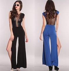 Women's Catsuit Jumpsuit Bodysuit Good Quality Mesh Cut Out Side Slits Jumper Outfit