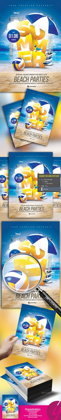 Summer Beach Parties Flyer by YczCreative Pool Parties Season The best party in town for your next event. Special designed for your ocasionCharacteristics: Summer Beach Party, Summer Parties, Pool Parties, Ocean Party, Summer Events, Templates Printable Free, Flyer Template, Creative Flyers, Creative Design