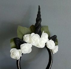 Handmade horn and ears with black glitter surrounded by pretty white foam roses. This headband is perfect for any little or big Unicorn (fits both adults and children). Foam Roses, Cosplay Diy, Black Glitter, Headdress, Horns, Bliss, Unicorn, My Etsy Shop, Halloween