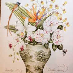 Original botanical painting by Kelly Higgs. Striped Camellias and orchids in a…