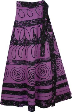 Strikemaster Womens Cotton Skirt TLB - Cotton Purple Clothing > Wrap Around Printed Cotton Long Skirt (Wrap-Around-Skirt) Cotton Skirt With Ethnic FlairA cool and comfortable block printed wrap skirt in cotton Skirt Outfits, Dress Skirt, Boys Winter Clothes, Wrap Around Skirt, Purple Outfits, Boho Look, Cotton Skirt, Purple And Black, Pretty Dresses