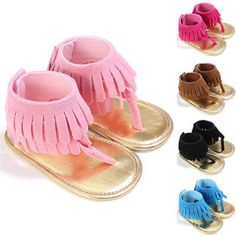 Cool Cute Infant Girls Kids Summer Sandals Toddler Baby Princess Soft Sole Shoes Fringe Moccasins Tassels Scandals Clogs 5Colors 0-2Y - $ - Buy it Now!