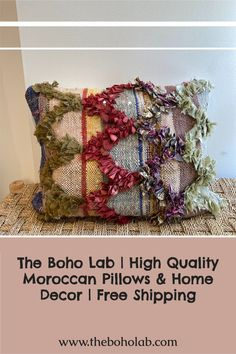 Authentic Vintage Moroccan Square throw pillow