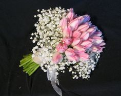 Pink tulips with a collar of baby's breath