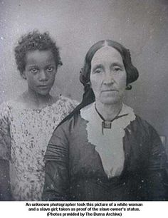 Plantation owner with her slave girl, slaves were traded during the Columbian Exchange.