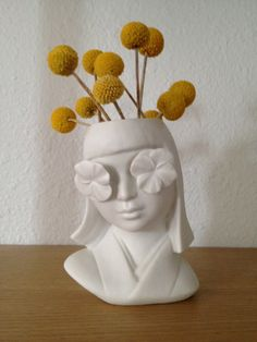 Art Deco Inspired Porcelain Flower Girl Head Vase by Jennifer Ling Datchuk of Dim and Sum