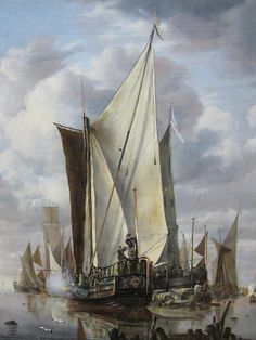 Shipping in a Calm at Flushing with a States General Yacht Firing a Salute, Jan van de Cappelle, 1649