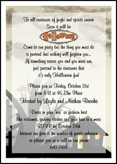 find largest selection of shocking halloween fright party invitation cards online save with our 10 free shocking halloween fright party invitation cards - Halloween Invitation Verses