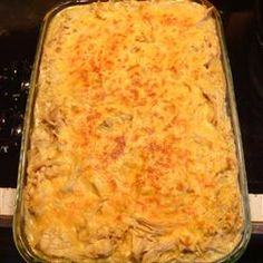 Easy Chicken Tetrazzini.  Stephanie's note: This is a quick, easy, and good recipe that makes a lot of food using common ingredients that we always have on hand.  It's a great go-to if you need to take a meal to someone.  We really like this one.
