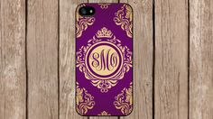 Personalized Monogram Royal Romance Floral Purple for iPhone 4/4s/5/5s/5c Samsung Galaxy S3/S4/S5/Note 2/Note 3 by TopCraftCase, $6.99
