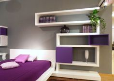Modern Purple Bedroom Design With Wall Shelves, In