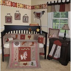 Custom Baby Bedding -Western Cow Boy 15 PCS Crib Bedding Set