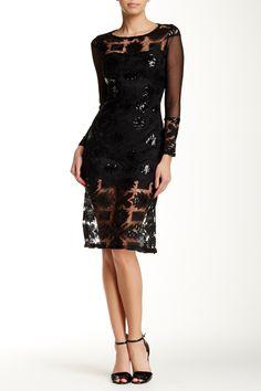 Mesh Sleeve Sequined Shift Dress by Eva Franco on @HauteLook