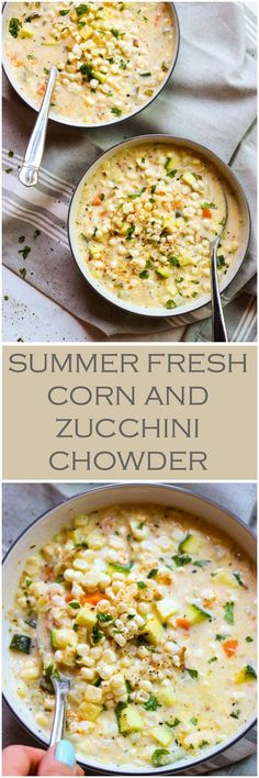 Summer Fresh Corn and Zucchini Chowder is part of Soup recipes - Creamy chowder loaded with fresh corn and zucchini is the best summer food! This lightened up chowder is made with fresh corn from the cob, no flour, and half and half Cooking Recipes, Healthy Recipes, Dishes Recipes, Recipies, Easy Recipes, Beef Recipes, Delicious Recipes, Blender Recipes, Cooking Bacon