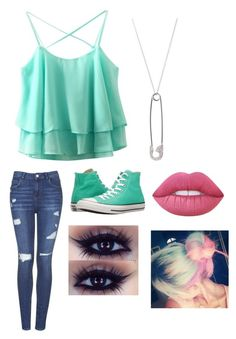 """""""outfit #96"""" by pie221153 ❤ liked on Polyvore featuring Topshop, Lime Crime, Converse and Ileana Makri"""