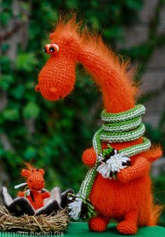 Orange dragon and his baby - crocheted and felted fairy creatures - One of a kind - Made to order