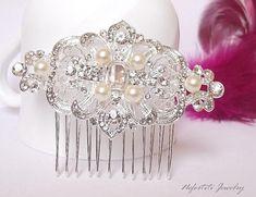 wedding hair comb pearl bridal hair comb by nefertitijewelry2009, $36.00