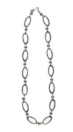 """Rome- 40.25"""" Large, antique silver hoops are hammered for a versatile necklace that adds interest as a belt, bracelet or boot bling. It can also be combined with Milano as a layered necklace or belt. $72 #rome #yourstylemialisia"""