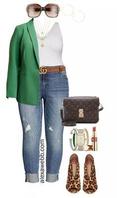 Plus Size Casual Green Blazer Outfit - Bodysuit, Boyfriend Jeans, Leopard Heels, Gucci Belt… - woman plus size fashion Curvy Fashion, Look Fashion, Plus Size Fashion, Girl Fashion, Autumn Fashion, Fashionable Plus Size Clothing, Japan Fashion, India Fashion, Petite Fashion