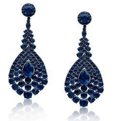 Stephen Russell 18-karat blackened gold and sapphire earrings