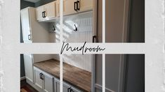 This gorgeous mudroom was custom-designed, constructed, sanded, primed, and painted by our #FiveStarPaintingLoudoun painting professionals. ➡️Paint: Sherwin Williams Emerald Urethane Trim Enamel in Extra White. ➡️Stain: Minwax Wood Finish in Classic Gray ➡️Top Coat: Minwax Polycrylic protective clear finish #loudouncountyva #homeremodel #mudroominspo #mudroomdesign Star Painting, White Stain, Minwax, Top Coat, Hallways, Mudroom, Home Remodeling, Emerald, Custom Design