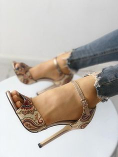 Tribal Print Peep Toe Thin Heeled Sandals  Shoeshighheels Sexy Sandals ec8bb27a7