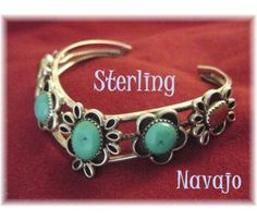 NAVAJO ~ Kingman Turquoise Coral Sterling Silver Old Pawn Cuff Bracelet - $119  www.FindMeTreasure.com