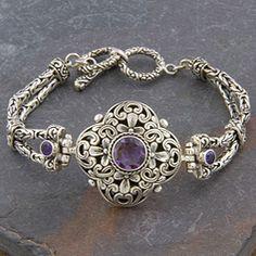 Sterling Silver 'Cawi' Amethyst Clover Toggle Bracelet