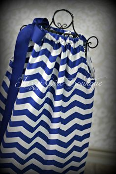 Girls Boutique Pillowcase Dress Sassari Chevron with Large Royal Blue Ribbon Bow over one Shoulder by JazzyGirlBoutique on Etsy https://www.etsy.com/listing/178301234/girls-boutique-pillowcase-dress-sassari