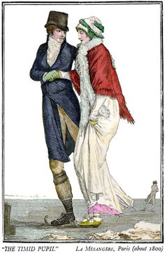 Regency couple skating. Fashion Plate dated c. 1800