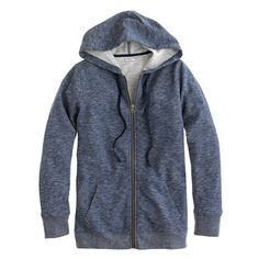 J.Crew - Heathered fleece zip-up hoodie onyx medium