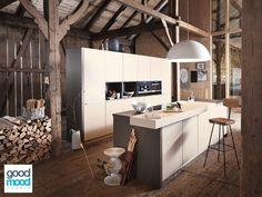 Cóż poradzić. Kochamy ten styl! Gdyby Ktoś z Was, miał taką wspaniałą przestrzeń do urządzenia, to zrobimy to z dziką przyjemnością! Beckermann Küchen, model: Colorado, lakier matowy, kolor: Sandbeige.