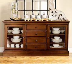 Piece #1 $999 PotteryBarn, Tucker Wood Cabinet Buffet, Mahogany stain