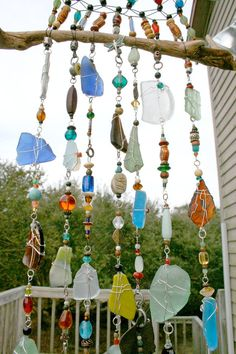 Handmade Sea Glass, Driftwood and Macrame Wall Art Suncatcher