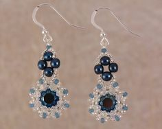 Metallic Blue Crystal Flower Earrings, Midnignt Blue and Silver Swarovski Jewellery, Christmas Gift Idea for Her - pinned by pin4etsy.com