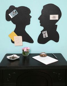 DIY- Silhouette bulletin boards....would be great to do with kids and then attach chore lists, school stuff...etc.