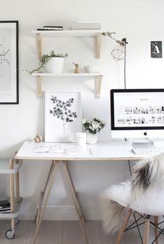 Inspiration #déco #scandinave pour le #bureau #blanc #bois #décoration #ordinateur #moderne http://www.m-habitat.fr/petits-espaces/bureau/10-idees-deco-pour-le-bureau-4115_A