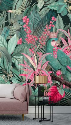 Shop this beautiful King of Parrots mural by Andrea Haase. Free delivery to New Zealand within 5 to 7 working days.
