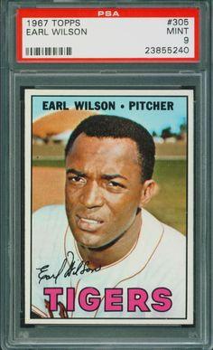 1967 Topps Baseball Earl Wilson #305 PSA 9 TIGERS MINT Set Break #DetroitTigers