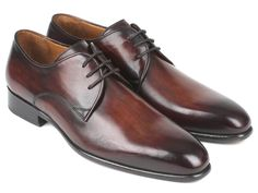 Paul Parkman Antique Brown Derby Shoes (ID#696AT51) Brown Formal Shoes, Brown Dress Shoes, Formal Shoes For Men, Brown Shoe, Blue Shoes, Brown Derby, Shiny Shoes, Moccasins Mens, Dark Brown Leather