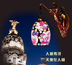 51.99$  Watch here - http://aliejj.worldwells.pw/go.php?t=32783132549 - European style glass wall lamp Mermaid living room bedroom bedside lamp mirror headlight aisle balcony wall lamp lamp Z10