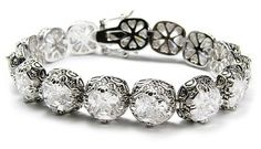 "Designer Inspired Huge White CZ Filigree Fashion Bracelet, Size 7"" wrist $22.00"