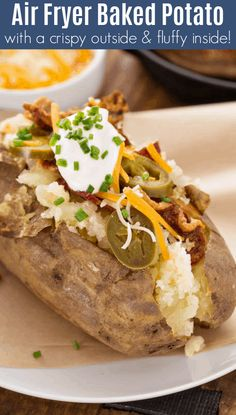 This air fryer baked potato recipe makes perfect baked potatoes with a crispy outside, and tender inside, every time! Plus, they cook quicker than they do in the oven! Looking for more baked potato recipes? Best Baked Potato, Air Fryer Baked Potato, Perfect Baked Potato, Potato Wedges Baked, Baked Potato Recipes, Air Fryer Dinner Recipes, Air Fryer Recipes Easy, Parmesan Baked Potatoes, Garlic Parmesan