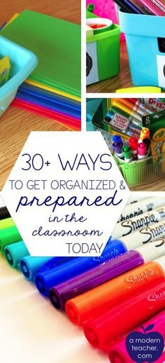 30 Ways to Feel Prepared in the Classroom (Plus Free Printable) - A Modern Teacher Getting organized and prepared in the classroom--a great list of ideas from A Modern Teacher Classroom Hacks, Kindergarten Classroom, Future Classroom, School Classroom, Classroom Decor, Classroom Design, Classroom Libraries, Chalkboard Classroom, Classroom Solutions