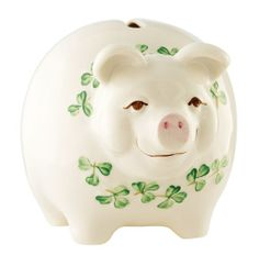 Belleek China Pig Money Box A happy looking pig with a scarf of hand painted shamrocks