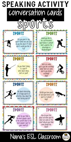 Ignite conversation in your classroom with these engaging conversation starter cards about all kinds of sports and hobbies. A total of 40 cards with one or more questions per card. English Fun, English Lessons, Learn English, English Language, Language Arts, Fun Conversation Starters, Conversation Cards, Teaching English, Education English